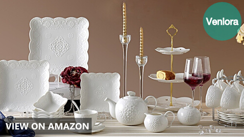 Jusalpha 3-tiered White Ceramic Pastry Stand