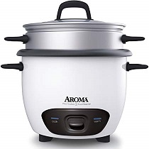 Aroma Housewares 6-Cup (Cooked) (3-Cup UNCOOKED) Pot Style Rice Cooker and Food Steamer